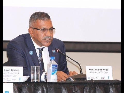 Fijian Minister, Hon. Faiyaz Koya at the Speaker's Debate Q & A Session.