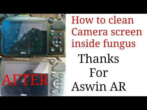 How to Clean Camera Screen/Display  Fungus Simple Trike  Nikon Coolpix l320 Canon Screen Inside