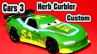 Pixar Cars 3 Custom Herb Curbler from Jeff Gorvette with Miss Fritter and Primer Lightning McQueen