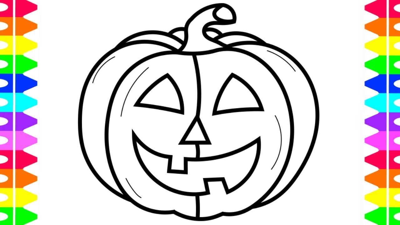 HAPPY HALLOWEEN COLORING! Learning How To Draw A Pumpkin