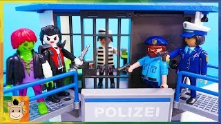 GO! Robocar Poli! Catch the villains who escaped from playmobil Police station pretend play