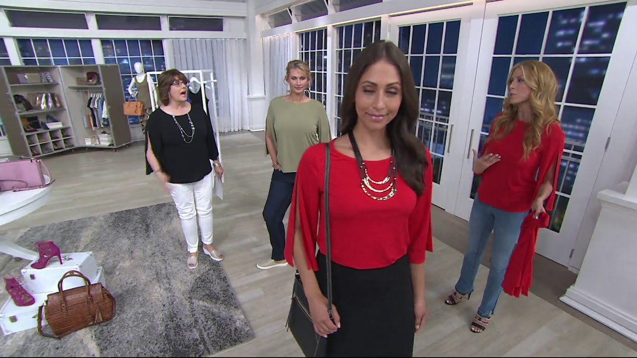 Gili Jetsetter Knit Top With 34 Length Split Sleeve On Qvc