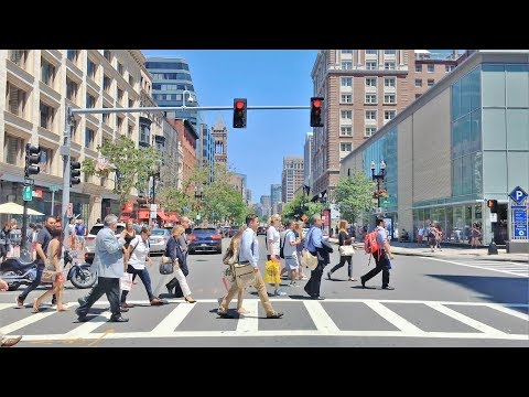 Driving Downtown - Boston's Main Street 4K - USA