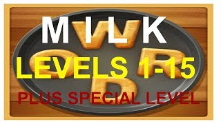 Word Cookies Milk Levels 1-15 plus special level answers