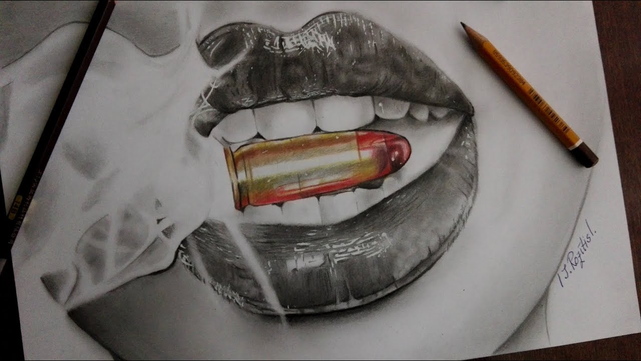 how to draw realistic lips �� smoke bullet ��� youtube