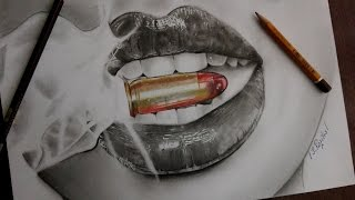 How to draw Realistic Lips 💋 ( smoke  ,bullet 🔫 )