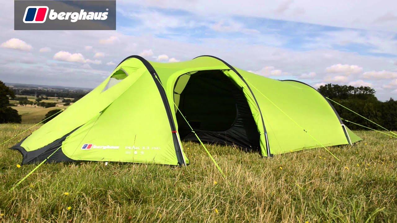 New Berghaus Peak 3.3 Camping Equipment 3 Person Festival Tent