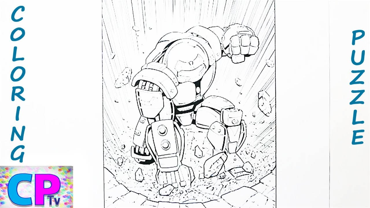 Iron Man Hulkbuster Coloring and Puzzle,Hulkbuster  Breaks the Rock into Pieces
