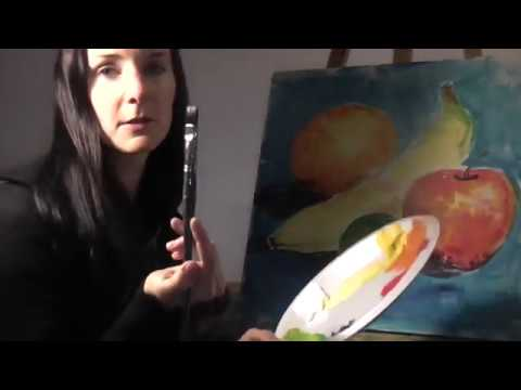 How to Paint a Fruit Still Life, Acrylic Color Mixing Simple Tutorial, Primary Colors Beginners