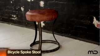 Bicycle Spoke Stool - Industrial Furniture - Milan Direct