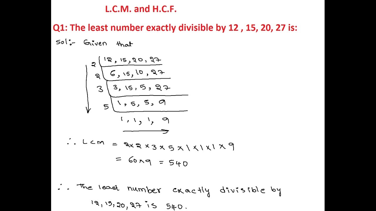 LCM and HCF 1 | The least number exactly divisible by 12, 15 ...