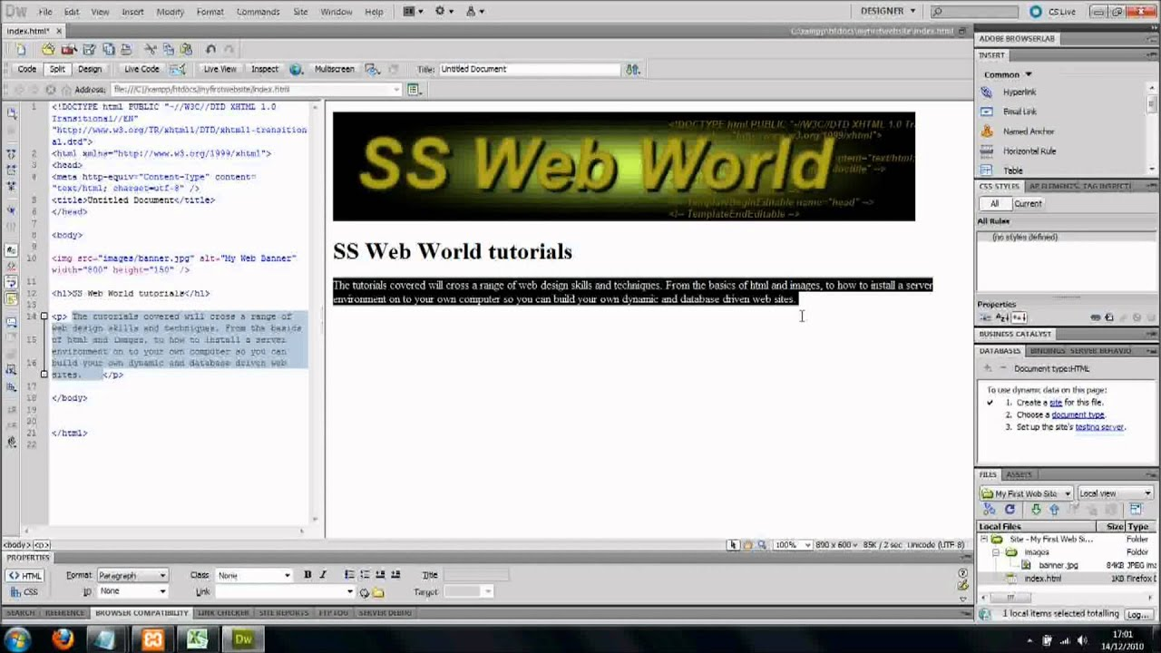 How To Insert Text Into Web Page, With Dreamweaver CS5