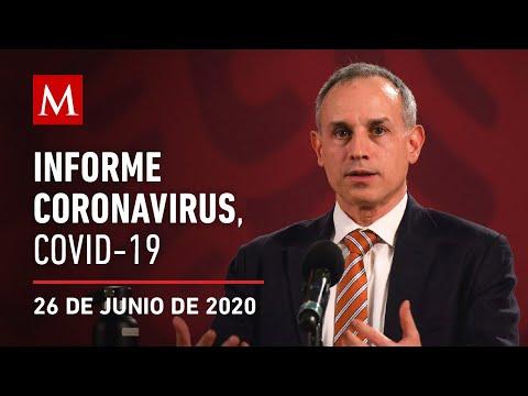 Informe diario por coronavirus en México, 26 de junio de 2020