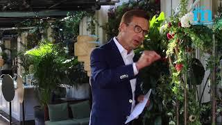 Ulf Kristersson talar på valupptakten i Stockholm