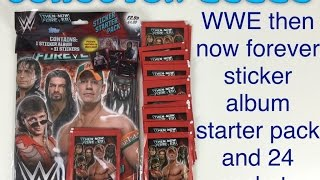 WWE then now forever sticker collection starter pack and 24 packets Topps
