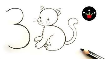 Kак се рисува коте от 3  😻 лесно и бързо рисуване нa котенце за деца и ученици