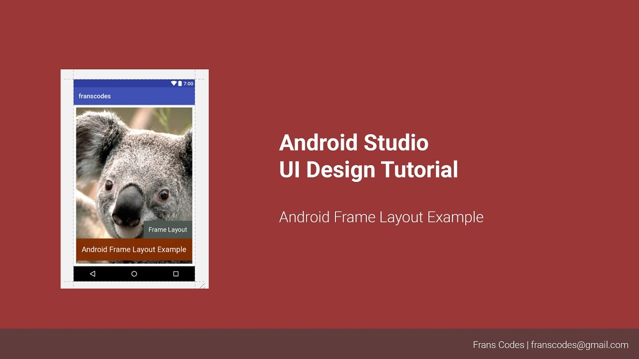 Android Frame Layout Example   Android Studio UI Design Tutorial ...