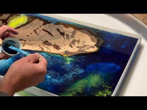 Wall Art English Walnut Blue & yellow Epoxy Resin