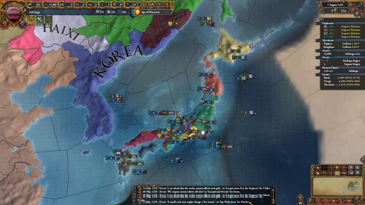 EU4 MoH achievements: Japanese achievements (as Ashikaga-Japan) 3