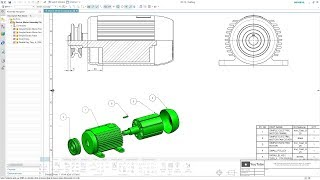 SIEMENS NX 12 - ELECTRIC MOTOR ASSEMBLY - DRAWING