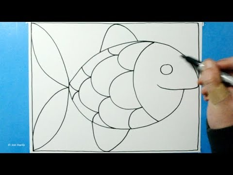 Spiral Drawing #283 / 3D Cartoon Fish Pattern / Satisfying Line Illusion / Daily Art Therapy