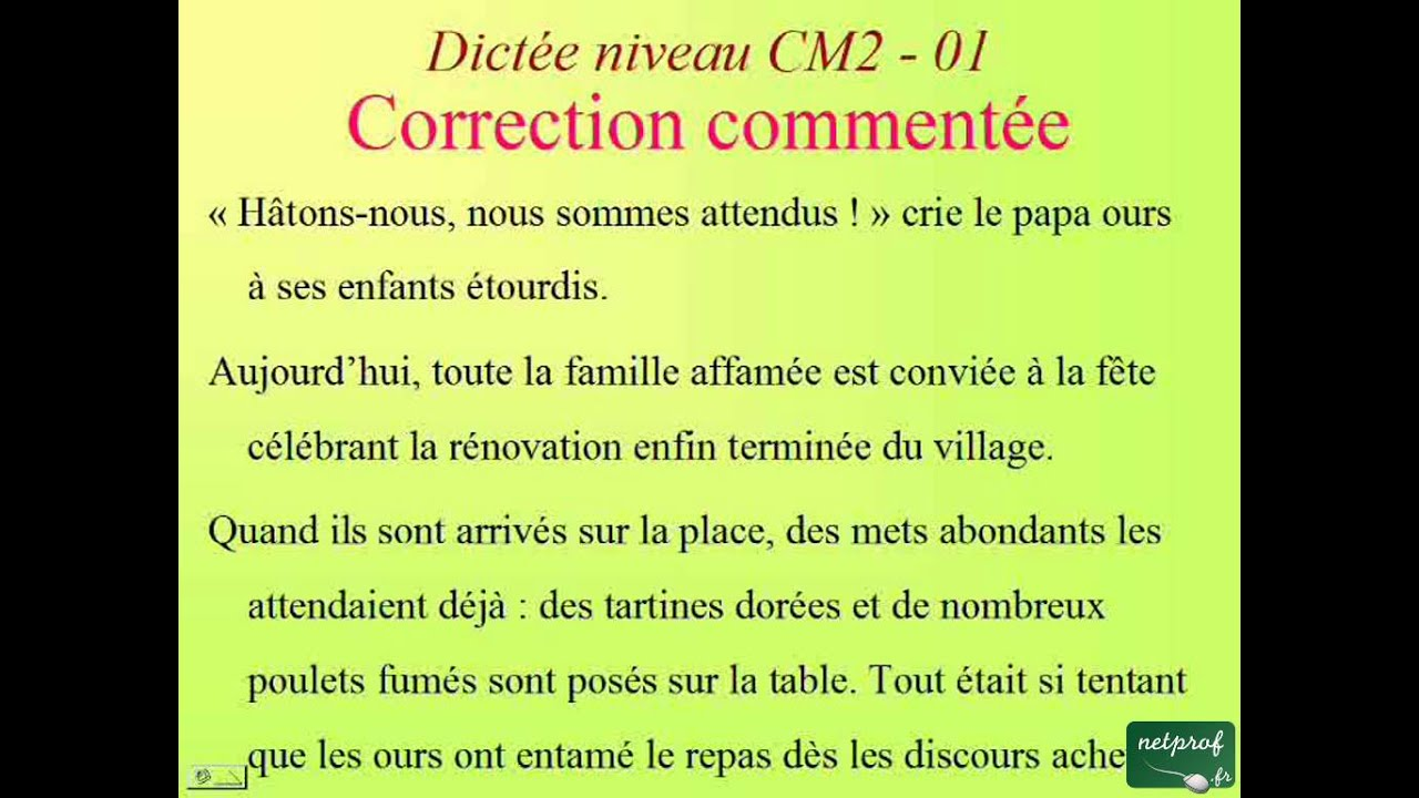 Dictee Niveau Cm2 01 Accord Du Participe Passe Youtube