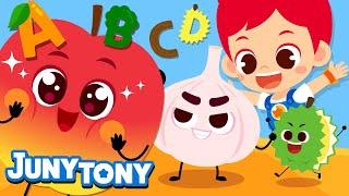 Alphabet Fruits and Veggies | Phonics Songs for Kids | Fruit and Veggie Songs | JunyTony