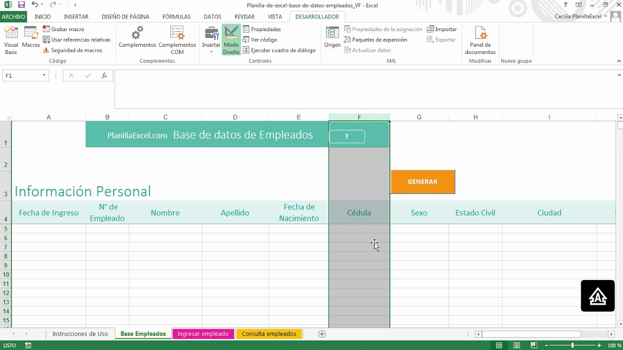 Base de datos de empleados en Excel - YouTube