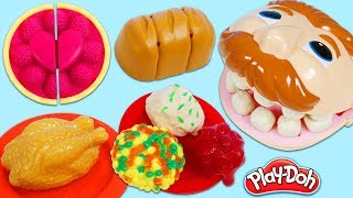Feeding Mr. Play Doh Head Thanksgiving Meal with Kitchen Appliance Toys!