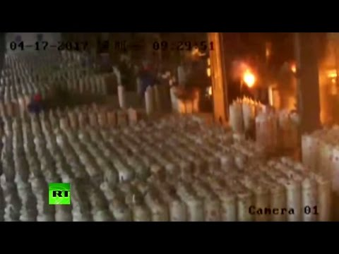 RAW: Gas cylinders explode at filling station in China