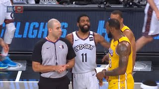 Kyrie Irving wins the challenge and lets LeBron James know about it | Lakers vs Nets
