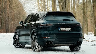2018 Porsche Cayenne Turbo - snow & wet road. Startup, sound and launch control!
