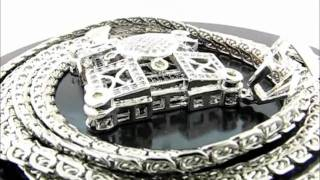 """Iced Out Hiphop Diamond Pendant & 38"""" Milano Curb Chain Combination(PEP035-04GR&CH005-0738GR) Thumbnail"""