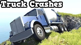 BeamNG Drive 0.4.1.2 - Trucks Falling Off a Cliff
