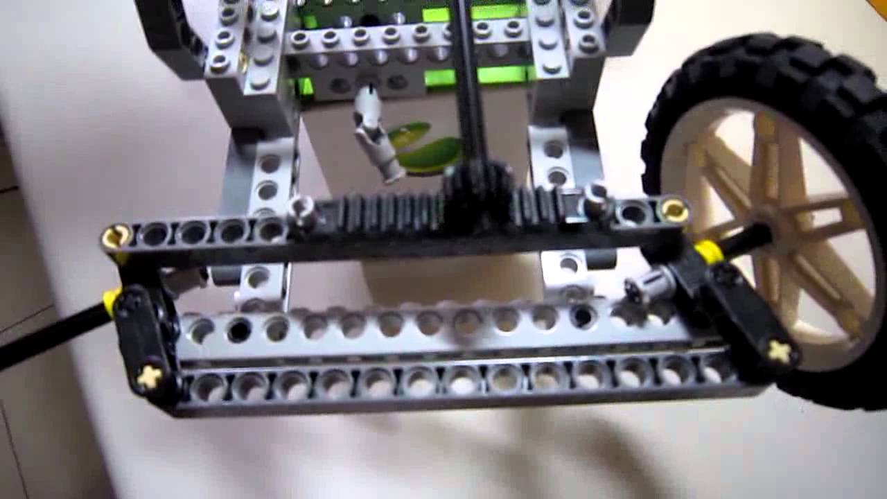 A Close Up To The Steering System Of A Lego Toy Car 130522