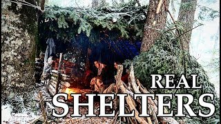 BEST REALISTIC SURVIVAL SHELTERS Winter Natural Bushcraft Shelters No Modern Materials