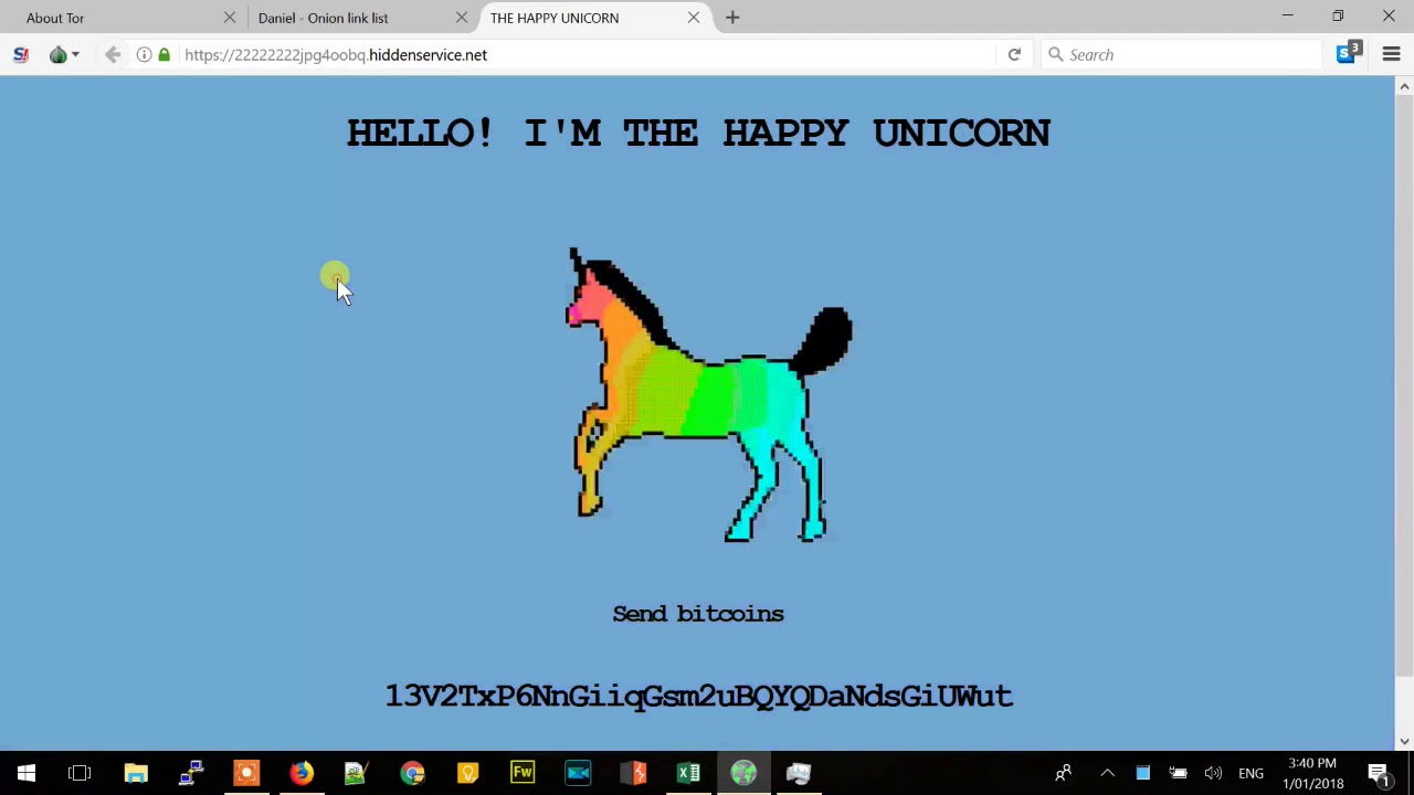 The Happy Unicorn - Tor Network - Mining coins using Coinhive