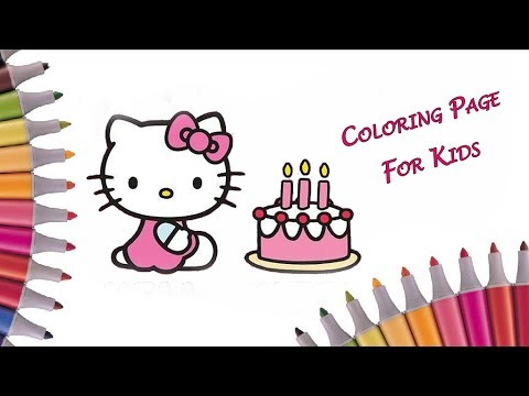 COLORING BOOK VIDEO FOR KIDS Hello Kitty Birthday Cake Cupcakes And Ice Creams Coloring Pages
