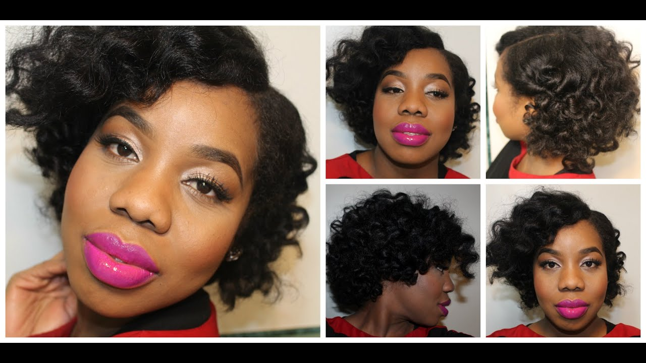 my first roller set l short natural hair -lovelyanneka - youtube
