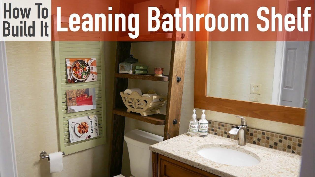 Simple DIY Leaning Bathroom Shelf - YouTube