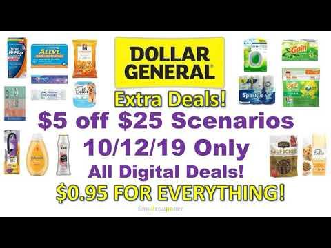 Dollar General $5 Off $25 Scenarios 10/12/19! All NEW Digital Deals!
