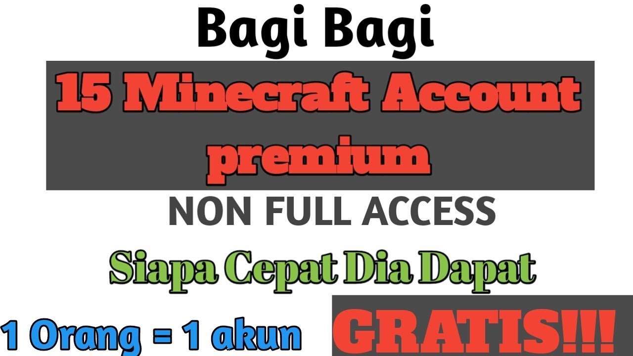 Bagi Bagi 15 Minecraft Account Premium Nfa Alts Gratis Youtube