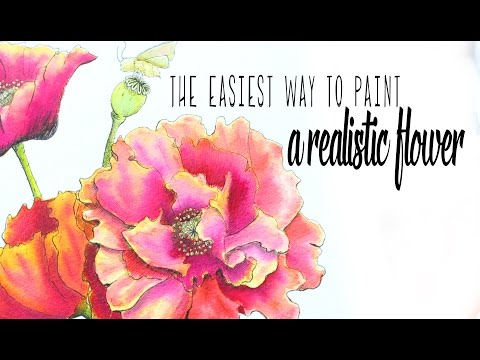 The Easiest Way - How to Paint a Watercolor Poppy Flower (see description for the update) - 동영상