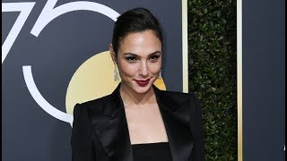 Gal Gadot Stuns At The Golden Globes In Cropped Blazer  Black Dress To Support #TimesUp
