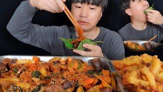 야식 최고 당면 듬뿍 넣은 순대볶음과 야채튀김 먹방 ㅣStir-fried Sundae ㅣ vegetable tempura ㅣ asmr mukbang