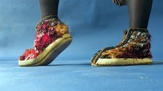 Шьем уютную домашнюю обувь из остатков шерстяных нитей. Мастер класс. Татьяна Лазарева