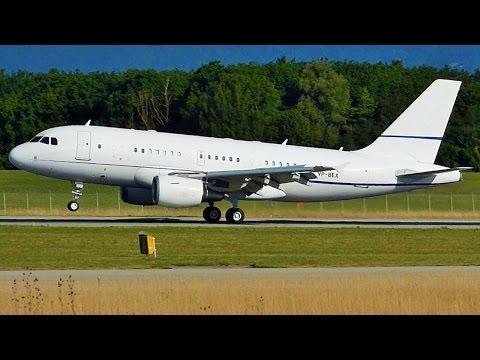 [FullHD] Hongkong Jet Airbus A319CJ landing at Geneva/GVA/LSGG