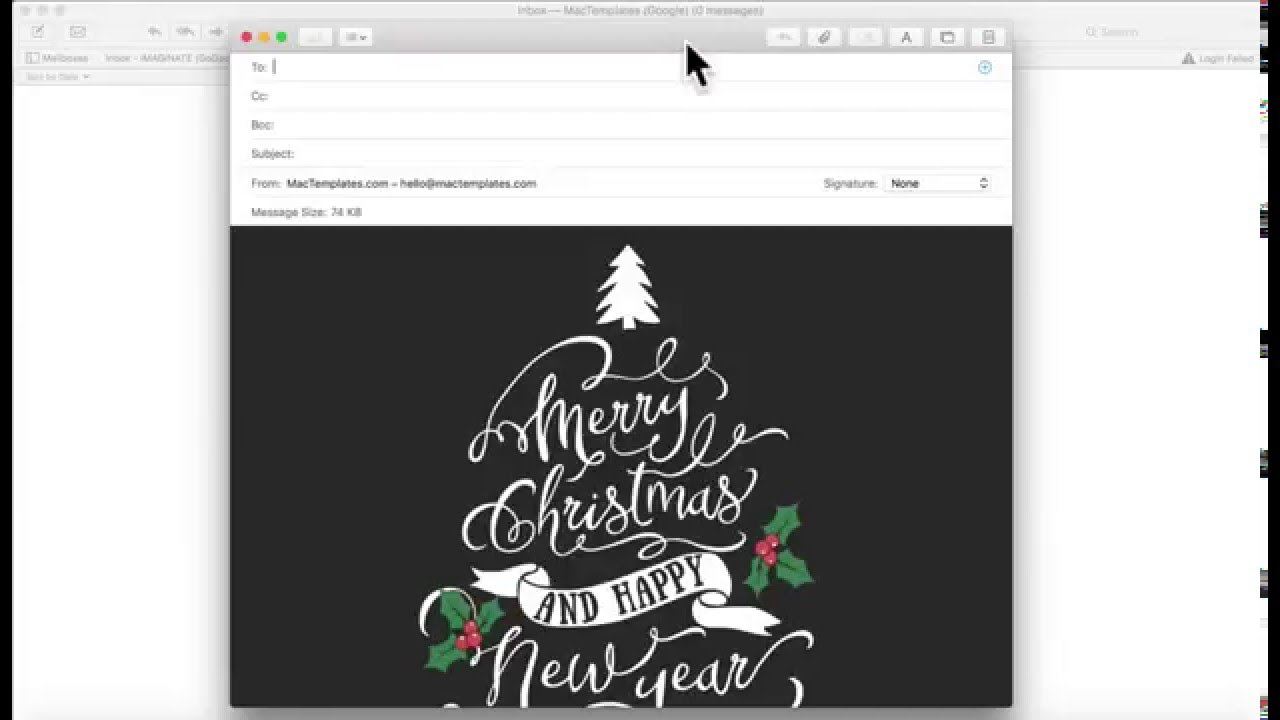 Christmas Card Email Template for Apple Mail Stationary - YouTube