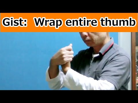 Gist:  Wrap the entire thumb with the other hand (#Feldenkrais ATM)