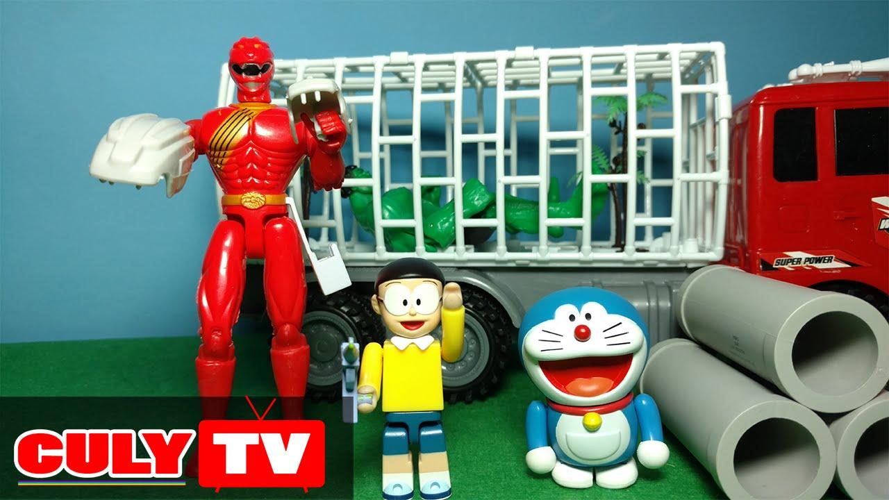 đồ chơi Doremon hài – nobita bắn súng gây mê cùng siêu nhân gao đỏ bắt Hulk bỏ tù – Doraemon Toy